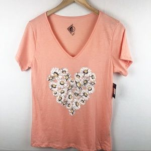 NWT Volcom Floral Vneck T-shirt  Medium